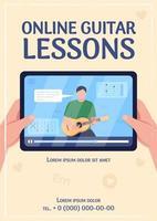 modelo de vetor plano de cartaz de aulas de guitarra online