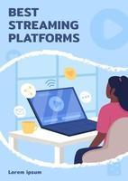 melhor modelo de vetor plano de cartaz de plataformas de streaming