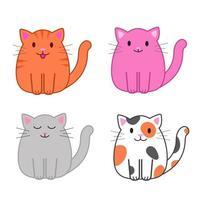 conjunto de gatos engraçados dos desenhos animados, ilustração vetorial bonito em estilo simples. gatos coloridos diferentes. sorridente gatinho gordo. impressão positiva para adesivos, cartões, roupas, têxteis, design e decoração vetor
