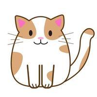 gato engraçado dos desenhos animados, ilustração vetorial fofa em estilo simples vetor