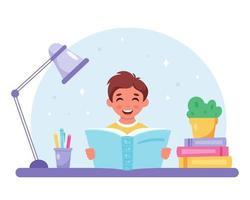 menino lendo livro. menino estudando com um livro. vetor