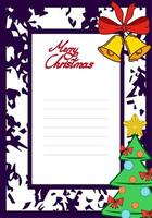 vetor cartão postal de Natal com sinos e árvore de Natal. cartão para o seu texto, copie o espaço com linhas para o seu texto de parabéns.