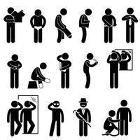 Homem, mudança, desgastar, roupas, vara, figura, pictograma, ícone vetor