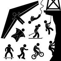 Extreme Sport Asa delta Bungee Jump Rock Climb Patinação. vetor