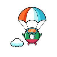 O desenho da mascote do emblema da bandeira das Maldivas está a saltar de pára-quedas com um gesto feliz vetor