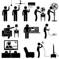 Homem Usando Eletrodomésticos Entretenimento Lazer Equipamentos Eletrônicos Stick Figure Pictogram Icon .. vetor