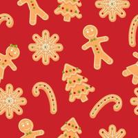 padrão sem emenda com homem-biscoito, floco de neve e doces. biscoito de natal. ilustração vetorial dos desenhos animados sobre fundo vermelho. vetor