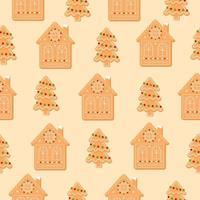 padrão sem emenda com árvore de Natal e casa. biscoitos de gengibre em fundo bege. ilustração em vetor plana ícone do ano novo.