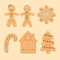 conjunto de homem-biscoito, doces, casa, árvore, floco de neve. biscoito de natal. ilustração vetorial de desenho animado vetor