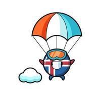 Desenho do mascote da bandeira da Islândia fazendo paraquedismo com um gesto feliz vetor