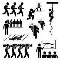 Soldado Militar treinamento treino dever nacional serviços Stick Figure pictograma ícones. vetor