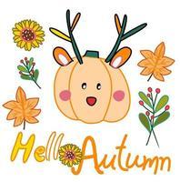 Olá cartão de outono com abóbora querida com folhas de bordo e outono e girassol desenhado à mão desenho vetorial vetor
