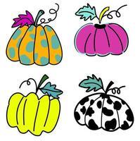 clipart de abóboras coloridas definir padrão com vetor de desenho animado desenhado à mão rosa, verde brilhante, polkadot e abóbora de vaca