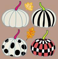 abóboras deign conjunto com padrão gráfico em quatro abóboras desenhando outono e folhas de outono mão desenhada arte vetorial vetor