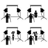 Fotógrafo estúdio fotografia atirar stick figura pictograma ícone.