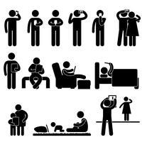 Homem, mulher e crianças ícone símbolo sinal pictograma. vetor