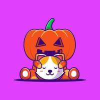 Monstro de abóbora bonito segurando a ilustração dos desenhos animados de cabeça de gato. conceito de estilo cartoon plana de halloween vetor
