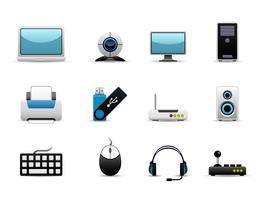 Ícones de hardware de computador.