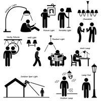 Projetos Home da lâmpada da iluminação da casa Figura ícone Cliparts da vara do pictograma. vetor