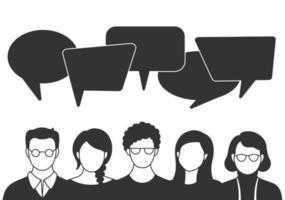 avatares de pessoas com bolhas de discurso. comunicação de homens e mulheres, falando de projetos. colegas de trabalho, equipe, pensamento, pergunta, ideia, conceito de brainstorm. vetor