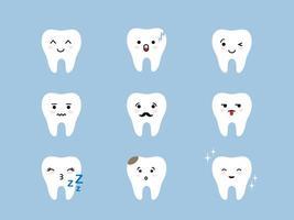 conjunto de ícones de emoji de dentes. personagens de desenhos animados fofos brancos rachados, quebrados e saudáveis com diferentes expressões faciais. emoticons de higiene bucal. vetor