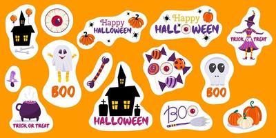 conjunto de adesivos de halloween de forma livre com abóboras, casa assustadora, uma caveira de bruxa e inscrições de feliz dia das bruxas. os adesivos são fofos com contorno branco. ilustração vetorial no estilo cartoon vetor