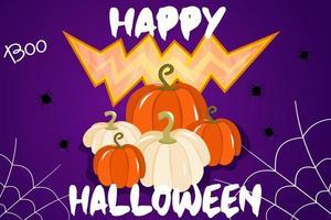 ilustração vetorial com um banner para o halloween ou um convite para uma festa com teias de aranha, abóboras e uma boca sinistra em um fundo roxo. teste feliz para o dia das bruxas, um feriado tradicional de outono. vetor