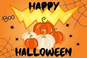 ilustração vetorial com banner para o halloween ou convite para festa com teias de aranha, abóboras e uma boca sinistra em um fundo laranja. teste de feliz dia das bruxas, um feriado de outono tradicional vetor