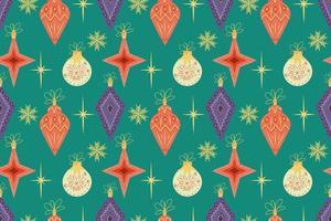 sem costura padrão retro com bolas de Natal e flocos de neve. ilustração vetorial em um estilo simples e moderno de meados do século em tons vintage. padrão de natal para presentes vetor