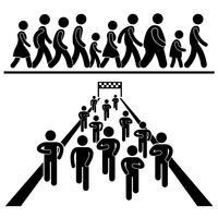 Caminhada da comunidade e corrida marcha maratona Stick Figure pictograma ícone. vetor