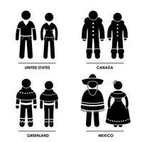 Vestuário de traje tradicional da América do Norte.