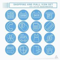 definir ícone shopping e shopping - estilo olhos azuis vetor