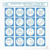 definir ícone shopping e shopping - estilo lua branca vetor