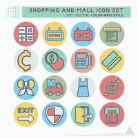 definir ícone compras e shopping - estilo companheiro de cor vetor