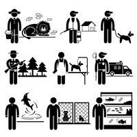 Animais Empregos Ocupações Carreiras. vetor