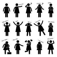 Mulher menina pessoa feminina básico linguagem corporal postura Stick Figure pictograma ícone. vetor
