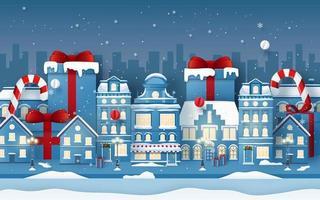 arte em papel origami do fundo da cidade com presente de natal na temporada de inverno vetor