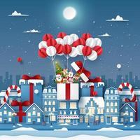 arte em papel origami de um personagem fofo de natal em um balão na cidade com neve vetor