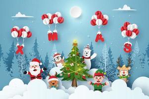 Papai Noel e o personagem de desenho animado bonito na festa de Natal com balão de Natal, Feliz Natal e Feliz Ano Novo vetor