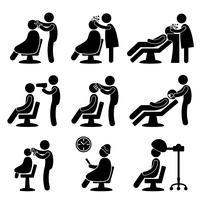 Barbeiro cabeleireiro cabeleireiro ícone símbolo sinal pictograma. vetor