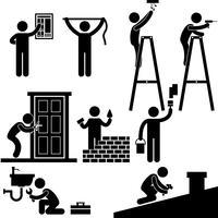 Contramestre do serralheiro do eletricista do trabalhador manual que trabalha o pictograma do sinal do símbolo do ícone do telhado da luz da casa do reparo da fixação. vetor