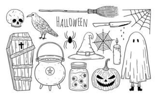 conjunto de rabiscos de elementos assustadores de halloween vetor