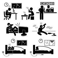 Ícone de pictograma insalubre pobre estilo de vida hábito Stick Figure. vetor