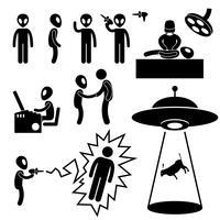 Invasores alienígenas de OVNI Stick Figure pictograma ícone.