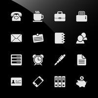 Ícones financeiros da Web do negócio do local de trabalho do trabalho de escritório.