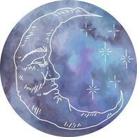 gráficos vetoriais de nuvens e estrelas com lua em aquarela. isolado conjunto de caracteres de ilustração vetorial. crescente gráfico com rosto, desenhado à mão em estilo de gravura. astrologia, alquimia e símbolo mágico. vetor