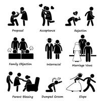 Amor casal casamento problema dificuldade Stick figura pictograma ícone Cliparts. vetor