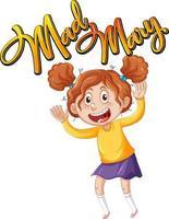 Design de texto do logotipo de mad mary com uma personagem de desenho animado de menina vetor