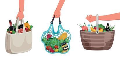 conjunto de sacolas de compras reutilizáveis vetor