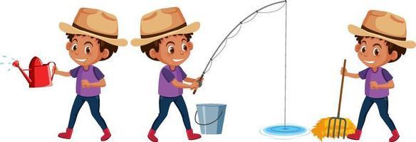 conjunto de um personagem de desenho animado de menino fazendo atividades diferentes vetor